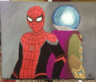 original artwork for sale by artist, Spiderman painting, fan art, comic art