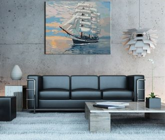 Print For Home Decoration DIY Oil Painting Hand Painted Paint Sailing Ship