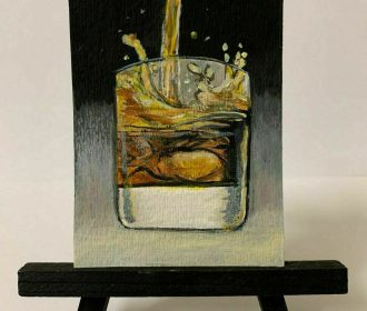 Original ACEO Sexy Whiskey Liquor Still Life with Acrylic Signed by Artist