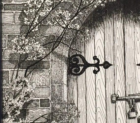 Pen and Ink Drawing, Art, Nostalgic Art, Secret Garden Gateway