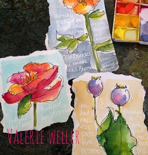 Watercolor Flower Sketches…Valerie Weller  www.twig2neststud…
