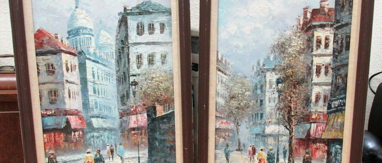 2 Rare Oil Paintings Parisian Street Scenes w Identical People in Both J. Bardot