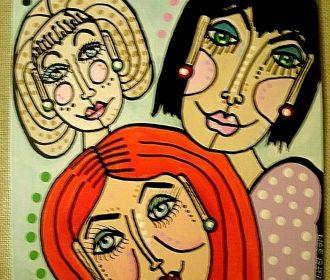 "Original Artist Acrylic Art Painting 8""x 10″ Canvas Board Modern Style Friends"