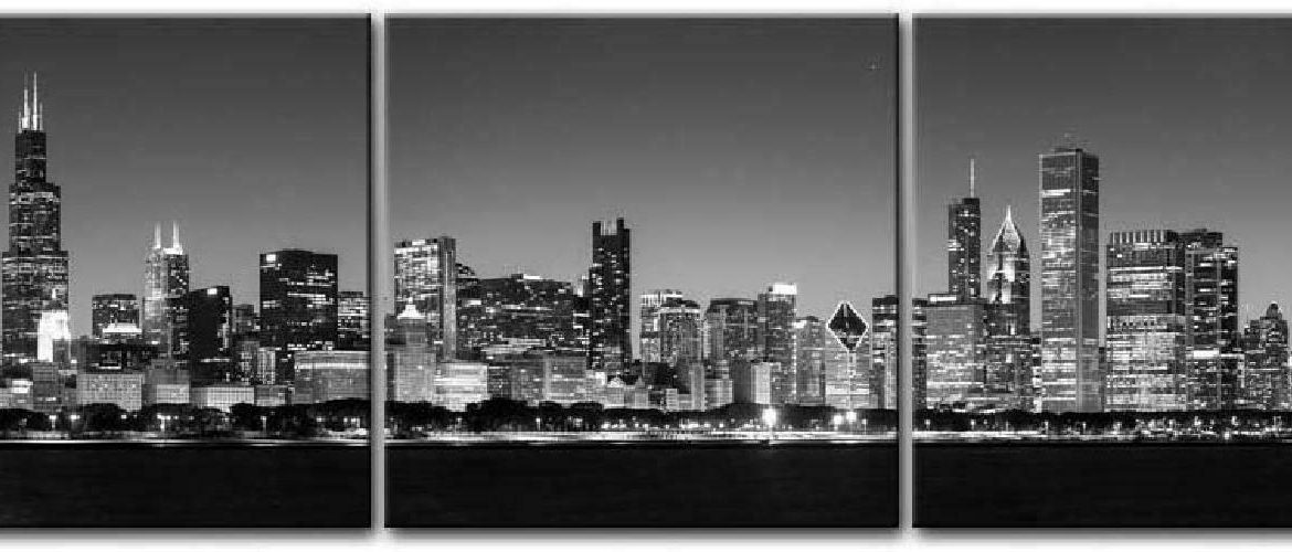 Canvas Print Wall Art Painting For Home Decor Black & White Chicago Skyline Nigh