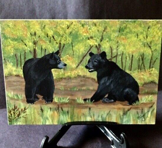 Bear, Black Bear, 5 x 7 Original One-of-a-kind Artwork, Acrylic Painting _DJ