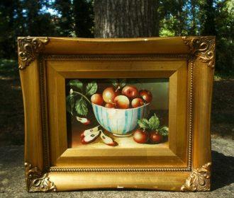 Still Life Apples In A Bowl,Original Oil Painting Robert Grace