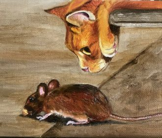 Original Oil Painting Artist J. Toney Cat and Mouse Animal Kitty Wildlife