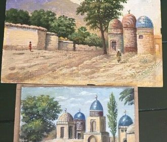 Pair 20th c. Signed Oil Paintings Religious Desert Scenes w/ Mosques