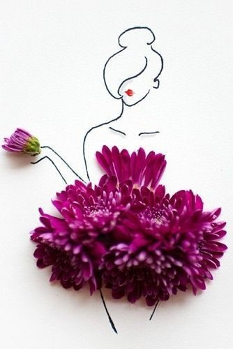 Clever Floral Fashion Sketch.                                                   …