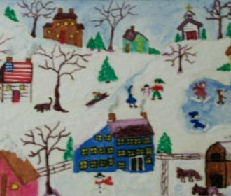 "ACEO ORIGINIAL""TINY TOWN"" FOLK ART"" BY ME THE ARTIST LB"