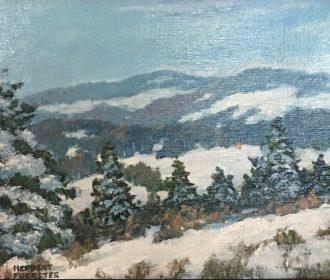 "Herbert Foerster, American Listed Artist, ""Snowy Mountains"", Original Oil/Board"