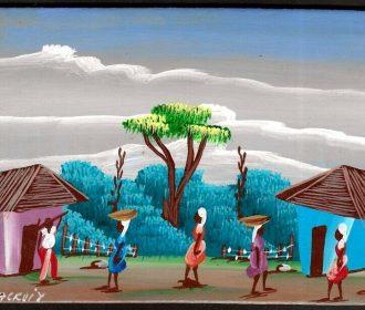 Haitian Artist B. Lacroix Painting Oil on Masonite Art 6″ x 4″ Haitian Village