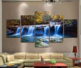 5Pcs Unframed Waterfall Wall Art Painting Picture for Living Room Home Decor USA