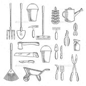Gardening Tools Sketches for Farming Design – Flowers & Plants Nature