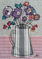 Purple flowers in jug – Freestyle machine embroidery by Jo Melrose              …