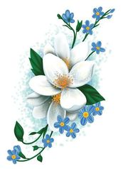 White Flowers Temporary Tattoo – Vintage Floral Tattoos