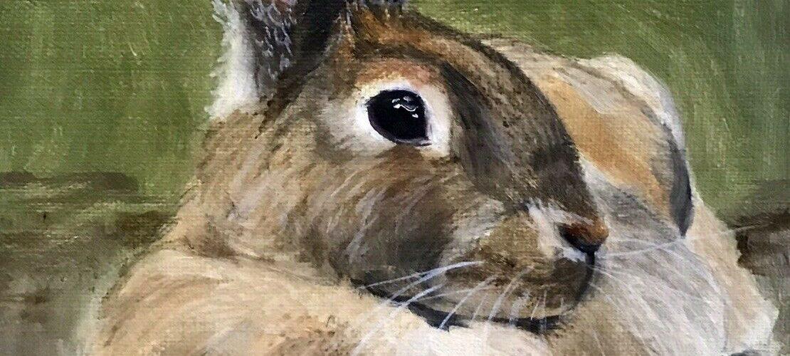 Original Oil Painting Artist J. Toney Rabbit Bunny Animal