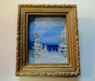 Miniature Framed Original Artwork Winter Landscape Trees