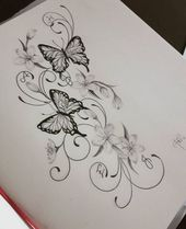 49+ ideas tattoo flower sketch butterflies