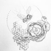 Abi Mustapha (abi mustapha) honeycomb tattoo . bumble bee drawing #bee #flowers …