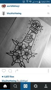 "Light house tatt  Instead of flowers at bottom. Ribbon with the saying ""shine yo…"