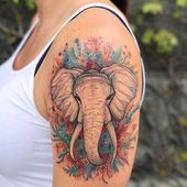 Watercolor Elephant Tattoo – Single Elephant Tattoo with Flowers