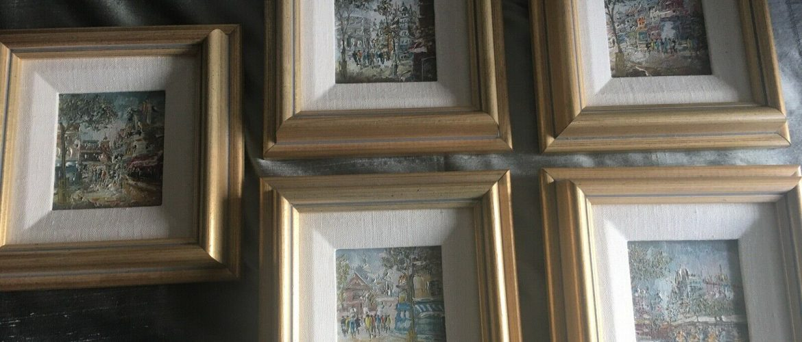 Paris lot 5 small paintings or giclee framed 1985 people in city