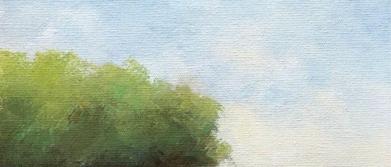 Original oil painting impressionist blue sky landscape tree painting SJ Studio