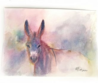 Original painting Donkey Wildlife Watercolor Art Artwork direct from artist USA