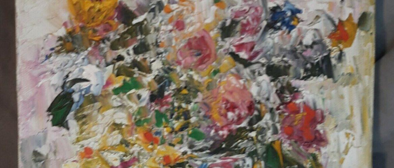 Vintage Signed Kreisman Impressionist Oil on Canvas Floral Still Life Painting