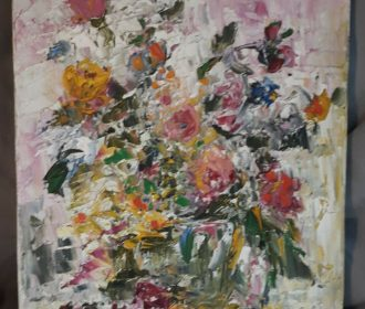 Vintage Signed Kreisman Impressionist Oil on Canvas Floral Still Life Painting
