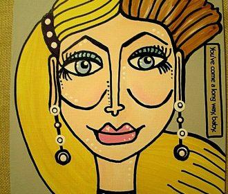 "Original Artist Acrylic Art Painting 8""x 10″ Canvas Board Portrait Modern Style"