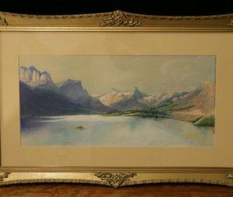Glacier National Park – St. Mary's Lake – Vintage Original Pastel Artwork