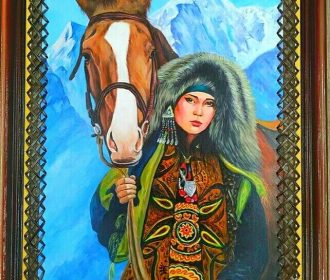 KYRGYZSTAN HANDMADE PAINTINGS ON LEATHER ART  history of the nomadic people