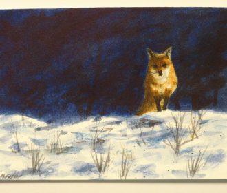 """ACEO Original Watercolor Artwork """"Winter Fox"""""""