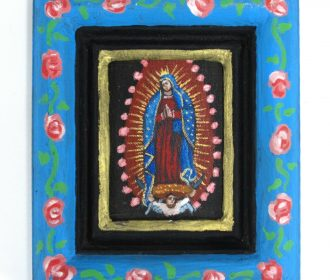 Miniature Virgin of Guadalupe Acrylic Painting in Hand-painted Frame Earl Staley