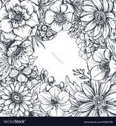 Floral frame with hand drawn spring flowers and plants. Monochrome vector illust…