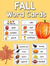 Free Printable set of 15 Fall Picture-Word Cards for picture dictionaries or wor…