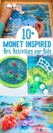 Monet Art for Kids of all ages. Using different techniques (resist, finger paint…