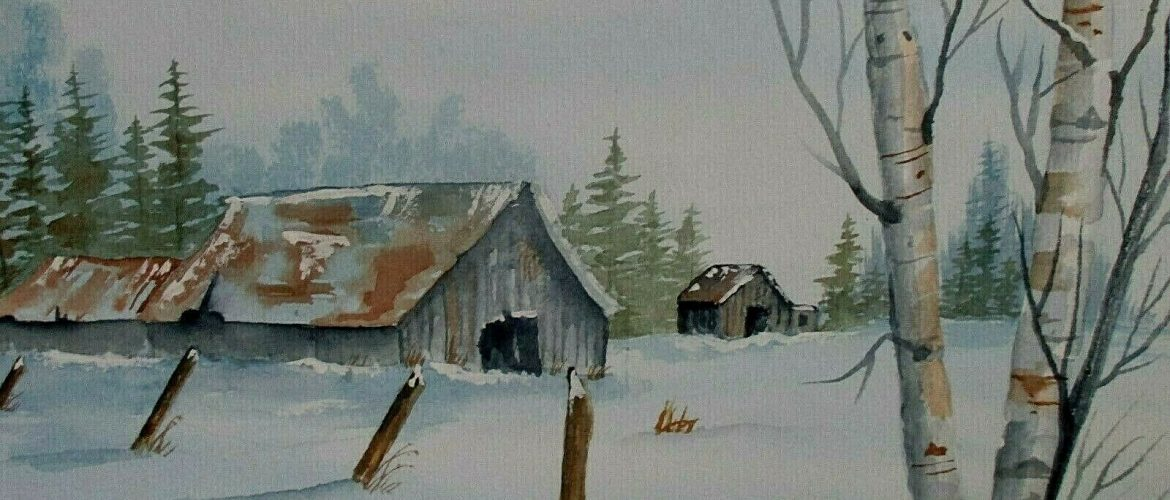 Winter Barn original.signed by artist, 12 1/2″ X 10″