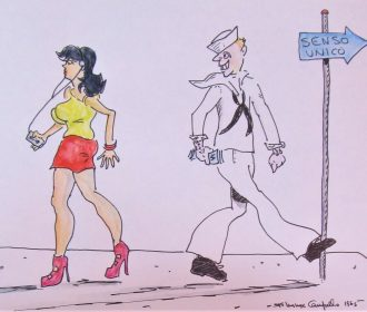 US Navy sailor with Italian girl – vintage 1984 watercolor by now listed artist