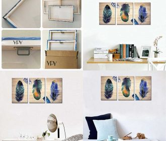3 Panels Modern Wall Art Colorful Animal Feathers Picture Artwork For Home Decor