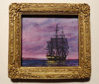 Miniature Framed Original Artwork Ship Seascape