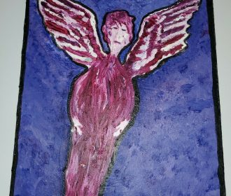 Original Painting Angel Outsider Folk Brut Raw Art SIGNED Vintage Expressionism