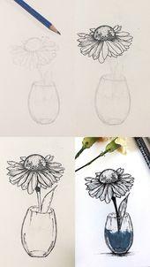 Flower pen sketch tutorial  Step by step process photos of a mini pen flower ske…