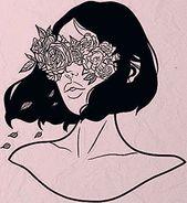 Line art marker black girl woman face flower pattern drawing sketch hair myth wa