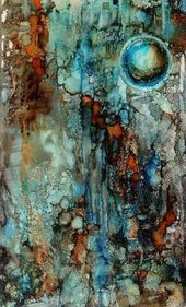 "Lou Jordan Fine Art: ""Orb I"" Original Alcohol Ink Contemporary Abstract Cosmos, …"