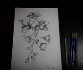 tattoo sketch, flower drawing, orchid drawing, pencil sketch, flower tattoo