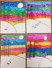 Winter landscapes by 1st grade – one day project | Mrs. Knight's Smartest Ar…