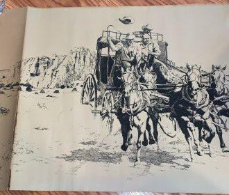 Vintage Signed Bassel Wolfe Artwork Turning For Home Western Cowboy Scene